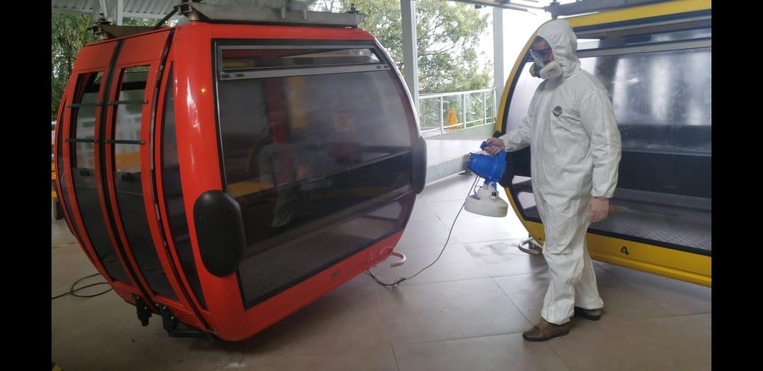 Bondinhos Aéreos higienizados com solução antimicrobiana de longa duração